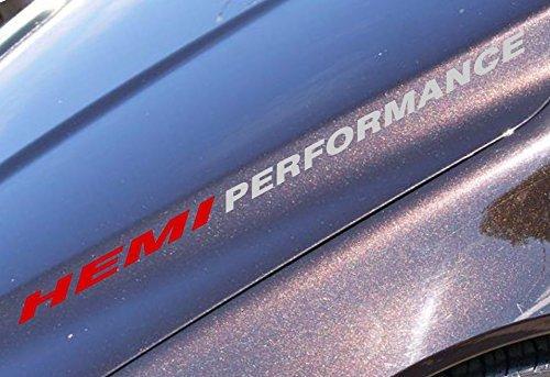 2pc 1 x 14 Hemi Performance Decal Stickers Red Metallic Silver Car Stripe Compatible with Dodge Hemi Turbo Ram Pick up
