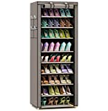 TXT&BAZ 27-Pairs Portable Shoe Rack with Nonwoven Fabric Cover (10-Tiers Silver Grey)
