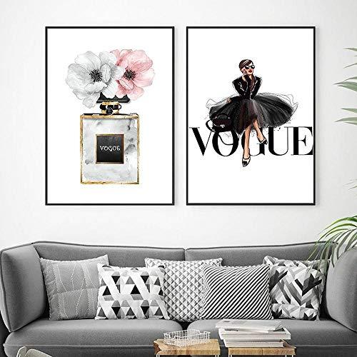 Vintage Audrey Hepburn Mode nordische Gemälde Ins Vogue Parfüm Blumen Eingang Schlafzimmer Wandkunst Leinwand Bilder Wohnkultur, 40x60cmx2Pcs (kein Rahmen)