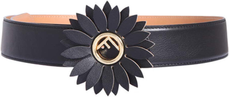 DENGDAI Women's Belts,Belt,Leather Belt Flower Fashion with Dress Black Wide Waist Seal Length 96cm