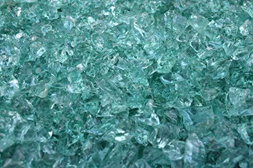 Steingrau Glasbrocken Glassplitt Dekoglas Gabionen Korngrößen 10-30mm türkis-hell 10kg