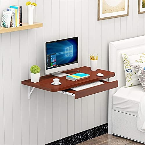 Mesa Madera Maciza de 2 Niveles, Montaje en Pared, computadora, Escritorio para computadora portátil, Estante Flotante Resistente, Junta de Acero, Pared, computadora, c-Brown||60cm