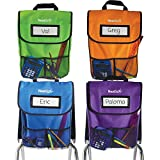 EAI Education NeatSeat Classroom Chair Organizer | Oversized Name-Tag Card, Dual Inner Pockets, One of Each Color: Blue, Lime Green, Orange, Purple, 16' x 12' with 1 1/2' Gusset, Set of 4