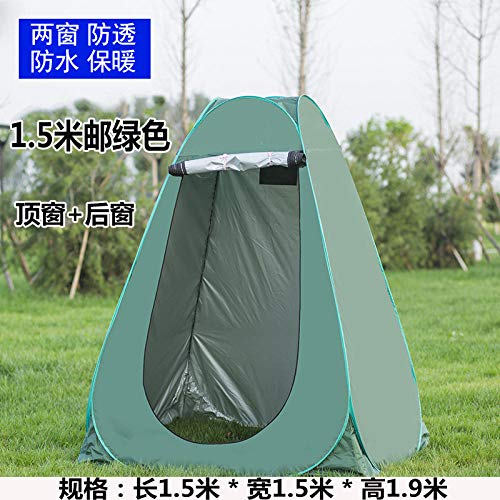 LIKEJJ Camp Toilet,Automatic pop-up tent Outdoor bathing tent Household bath tent thickening and warmth Changing room cover Portable mobile toilet Beach changing sunscreen tent-1.5m silver 2 windows