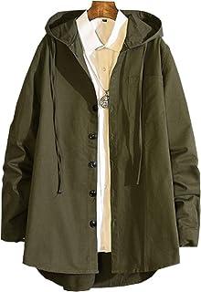 Veravantベラバント メンズ シャツコート ロングパーカー アウター ゆったり 大きいサイズ 無地 フード付き カジュアル シンプル 綿 秋服