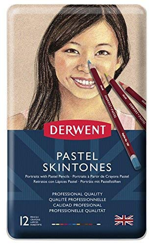 Derwent Pastel Pencils, Skintone, 4mm Core, Metal Tin, 12 Count (2300563)