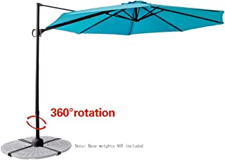 FLAME&SHADE 10' Offset Cantilever Hanging Market Style Patio Umbrella with Tilt for Outside Balcony Outdoor Table Pool Deck, Aqua Blue