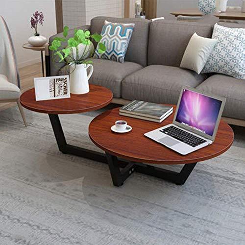 WGEMXC Haupttisch, Couchtisch, Einfacher Runder Tisch, Wohnzimmertisch, Praktischer Schreibtisch,Weiße Beine + Teakholz