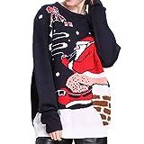 KCatsy Femme Pull tricoté Top Plusieurs Styles noël père noël Flocon de Neige Bonhomme de Neige Arbre Renne noël Tricots(Noir-Santa Claus Smoking,(FR 42))