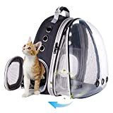 Front Expandable Large Cat Carrier Backpack, Space Capsule Pet Carrier Backpack for Fat Cats and Small Dog up to 20 lbs, Dog Carrier Backpack for Traveling and Hiking (Black)