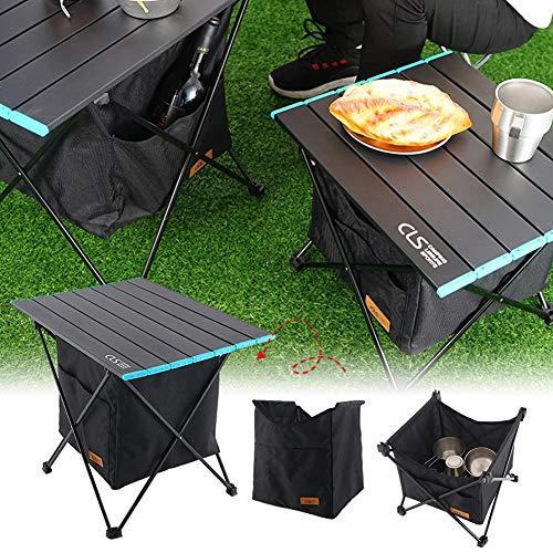 Mesas de camping portátiles con bolsa de almacenamiento, mesa auxiliar plegable ultraligera, mesa plegable de aluminio para picnic, barbacoa, playa, barco