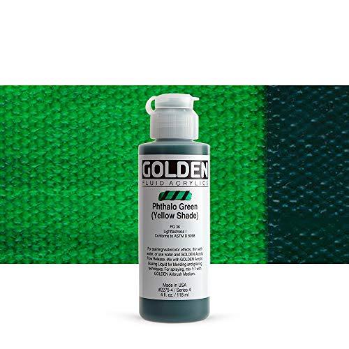 Or 0002275-4 4 oz - 118ml - Fluid Peinture acrylique Peinture de couleur bouteille - Vert Phthalo avec nuance jaune