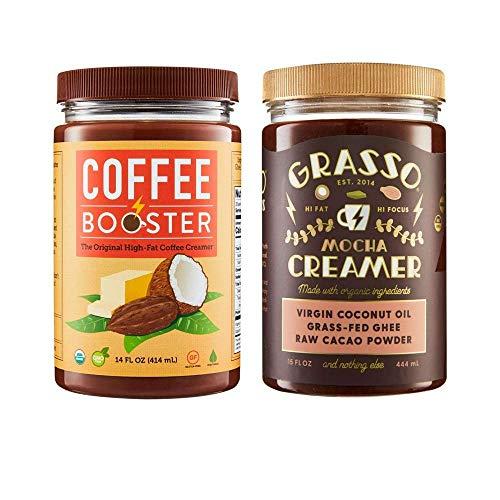 Grasso Mocha Creamer (previously Coffee Booster) | The Original High-Fat Coffee Creamer | Keto Friendly | Coconut Oil, Ghee, Cacao Powder
