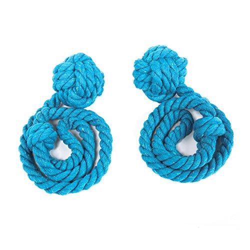 YUPPIE TONE Embrasse à Rideau Tricoté Boucle en Rideau de Coton Tissage à la Main, Lot de 4 (2 Paires) Bleu Ciel