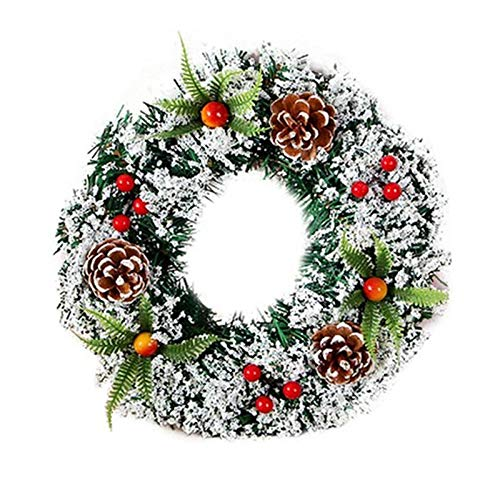 Verdelife Christmas Wreath, Flocked with Mixed Decorations and Snow Wintry Pine 8 inch Door Ornament Home Decor Holiday Accessories for Xmas Party