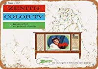 ゼニスカラーテレビ金属看板レトロな壁の装飾ティンサインバー、カフェ、家の装飾