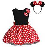 Toddler Little Baby Girl Polka Dots Princess Mini Costume First Birthday Outfits Fancy Dresses up Pageant Party Cosplay Mouse Ears Halloween Christmas Formal Dance Clothing Set Black-2pc 4-5T