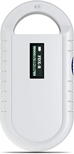 Lazmin112 Microchip Scanner, Alimentatore Portatile per Animali Domestici Microchip Reader Pet Scanner per Animali Do...