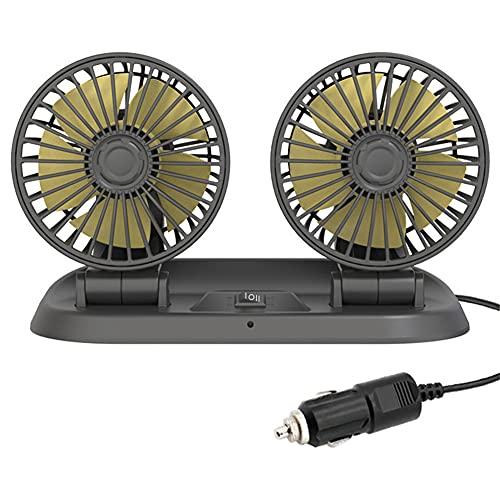 Ventilador Eléctrico de Carga USB Universal para Coche, Dual Ventilador Silencioso Giratorio de 360 Grados de 2 Velocidades para Automóvil