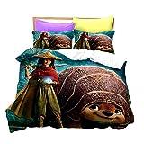 Raya and The Last Dragon - Juego de ropa de cama infantil animada (135 x 200 cm, funda nórdica doble de dibujos animados, 3 piezas (Raya-4, 140 x 210 cm + 80 x 80 cm)