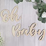 Wood Oh Baby Sign, Party Banner for Baby Shower Decorations, Birthday Party, Gender Reveal Backdrop, Wall Decor by QIFU
