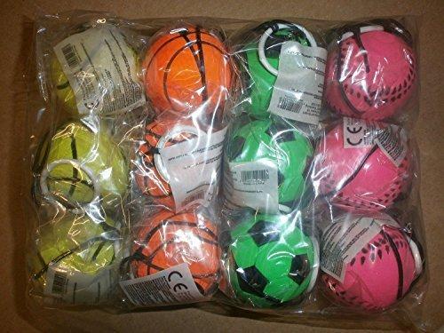 12pezzi, palline elastiche retrò con elastico, palline rimbalzanti con laccio, palla da calcio, da basket e baseball, pallina da tennis, in vari colori