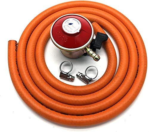 Intergas UK Regulador de gas para patio de 27 mm, con manguera de 2 m + 2 clips para calor/flogas