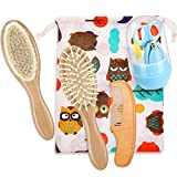Baby Hair Brush Set Baby Care Kit Includes Wooden Baby Hair Brush Baby Massage Brush and Baby Manicure Set for Newborns Toddlers Baby Shower