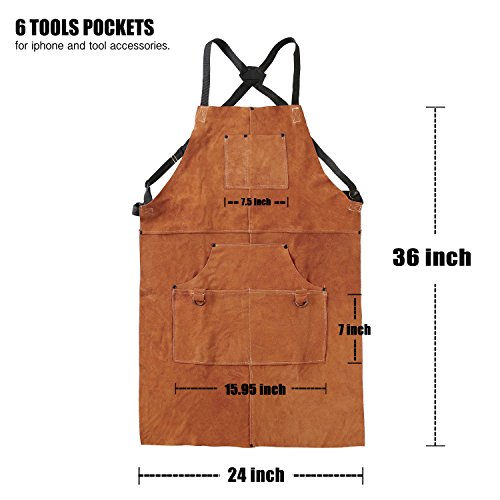 """Leather Work Shop Apron with 6 Tool Pockets by QeeLink - Heat & Flame Resistant Heavy Duty Welding Apron, 24"""" x 36"""", Adjustable M to XXL for Men & Women (Brown)"""