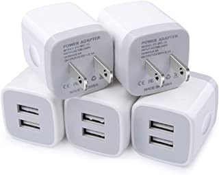 Wall Port Charger, USB Wall Charger, Cube Charge Block 2.1A/5V USB Power Brick Fast Charging Head Box Compatible for iPhone 11/11 Pro Max/Xs Max/Xs/XR/X/8/7/6S/6 Plus, Samsung, LG, Moto, Android Phone