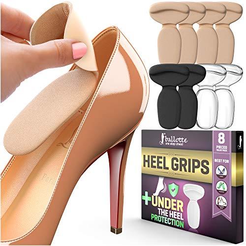 Extra Weiche Fersenpolster [Rutschfeste und Bequeme Fersensporn Einlagen] Fersenpolster für zu Große Schuhe, Ideal für neue Schuhe, Schützt Ferse gegen Druck und Blasen, 8 Geleinlagen für Damenschuhe