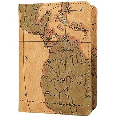 GDTK Leather Passport Holder Cover Case RFID Blocking Travel Wallet (Map Brown)