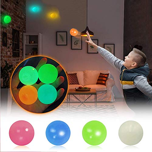 Glow Stress Relief Balls Sticky Ball, Stick to The Wall and Slowly Fall Off, Ceiling Balls, Glow Stress Relief Toys for Kids and Adults Tear-Resistant, Non-Toxic, Fun Toy for ADHD, OCD,Anxiety (4 PCS)
