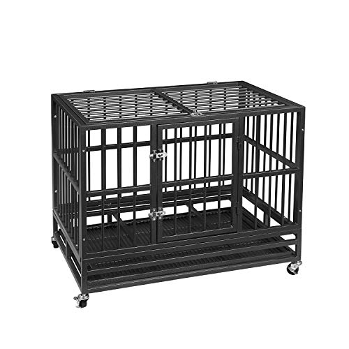 AINFOX Heavy Duty Metal Dog Crate