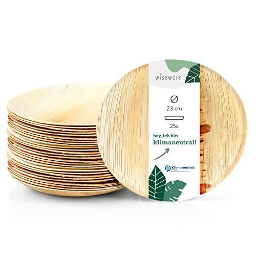 Wiseware Palmblatt Teller - 25 Stück Einwegteller rund Ø 23 cm - biologisch abbaubares Palmblattgeschirr - kompostierbares Partygeschirr - Bio Einweggeschirr
