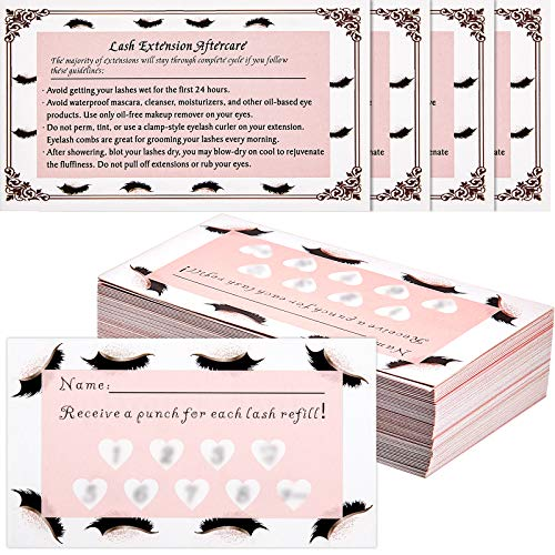 Lash Care Card Eyelash Extension Aftercare Instructions Business Cards and Refill Filler Lash Punch Cards Loyalty Card for Lashes Extensions Hair Beauty Nail Salons or Spas (150)