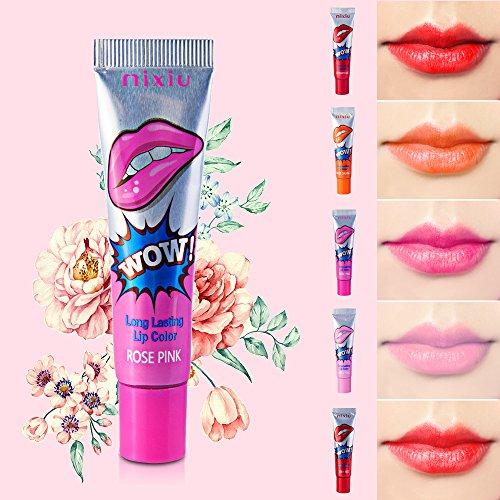 WOW Romantic Bear - haltbare, abziehbare Lippenfarbe,  Lip-Stain, Lippen-Tattoo, 6Farben kirschrot