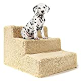 HH- 3 Step Pet Stairs, Carpeted Pet Ramp for Older Dogs/Cats Get on High Bed, Removable Washable Cover, Holds Up to 30kg