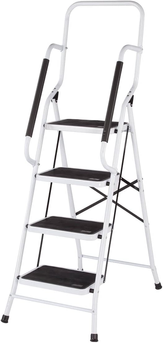 LivingSURE Folding 4-Step New products 2021 new world's highest quality popular Safety Ladder Padded Side Handrails –