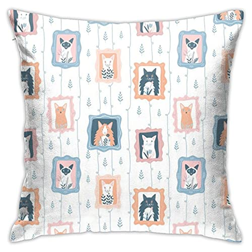 87569dwdsdwd Portraits of Cute Catsjuliagosteva Throw Pillow Cover Pillow Cases for Home Decor Design Cushion Case for Sofa Bedroom Car 18 X 18 Inch 45 X 45 cm