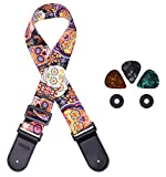 Guitar Strap Unique Vintage Skull Bass Strap with 2 Strap Locks and 3 Picks, Ideal for Guitar and Ukulele