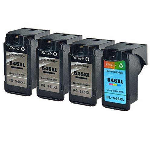 NineLeaf Remanufactured PG-545XL CL-546XL inktpatronen Vervanging voor Canon 545XL Zwart 546XL Tri-color PG545XL CL546XL inkt voor Canon PIXMA IP2800 IP2850 MG2950 MG3050 MX495 3PK 545XL, 1PK 546XL Zwart