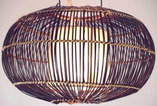 Guru-Shop Plafondlamp/Plafondlamp, Handgemaakt in Bali van Natuurlijk Materiaal, Bamboe, Katoen - Model Cadiz, Rattan, 20x35x35 cm, Hanglampen van Natuurlijke Materialen