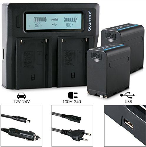 2xBlumax Akku ersetzt Sony NP-F980 / F970 / F750 / F550 / F960 - LG Zellen - 7850mAh mit 5V USB Ausgang (Powerbankfunktion) und DC Strom-Eingang + Doppel-Ladegerät Dual Charger