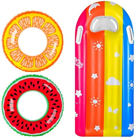 balnore Inflatable Pool Floats for Kids 3 pcs Inflatable Swim Tube Raft with Summer Fruits Painting product image