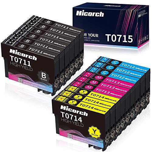 Hicorch Cartuccia T0715 Multipack Compatibile con Epson T0711 T0712 T0713 T0714 per Epson Stylus SX100 SX110 SX200 SX205 SX210 SX215 SX218 SX400 DX4400 DX4450 DX5050(6 Nero,3 Ciano,3 Magenta,3 Giallo)