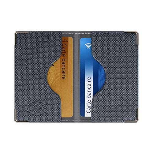 Etui 2 Cartes bancaires blindé (Anti-RFID) (Anthracite) - Fabrication française - Protection des données bancaires