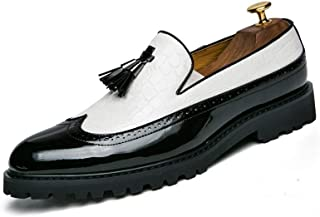 Patent Oxford Brogue Tassel Shoes For Men Real Leather Business Perfunctory Fashion Loafers Wingtip Anti-slip Flat Slip-on Round Toe casual shoes (Color : White, Size : 46 EU)