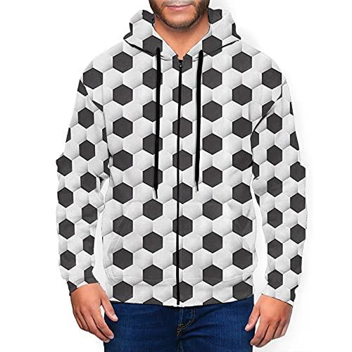 Sudadera con capucha para hombre con cremallera completa con capucha y diseño clásico con capucha, Balón de fútbol deportivo, diseño geométrico, color negro, XL