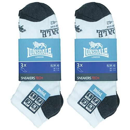 Lonsdale Sneaker Tech 6 Paar ideale Socken für Trekking, Rennen, Tennis, Radfahren, ausgezeichnete Baumwollqualität (Weiß, 39-42)